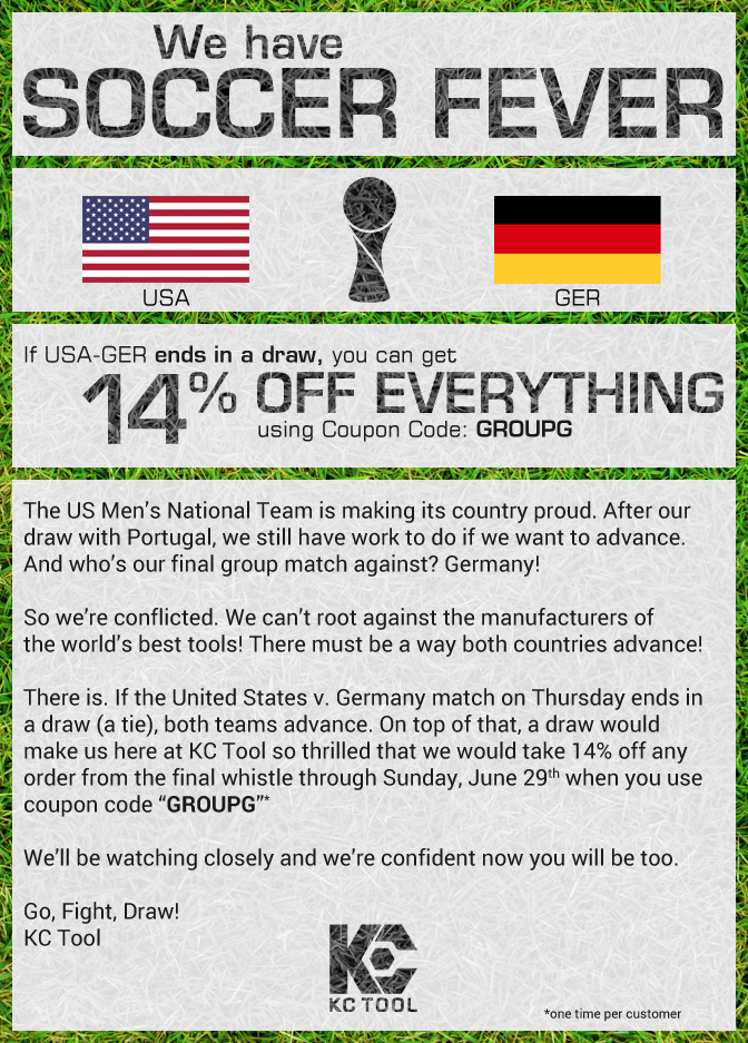 If USA vs GER ends in a draw ... you win with 14% off!