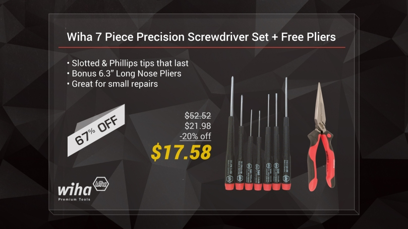 "BONUS! Wiha 26190 7 Piece Precision Slotted & Phillips Set + Free Ergo Pro 6.3"" Pliers"