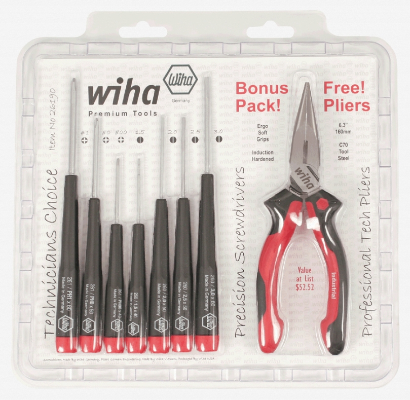 Wiha 26190 Promo Bonus Slotted Phillips Pliers Set