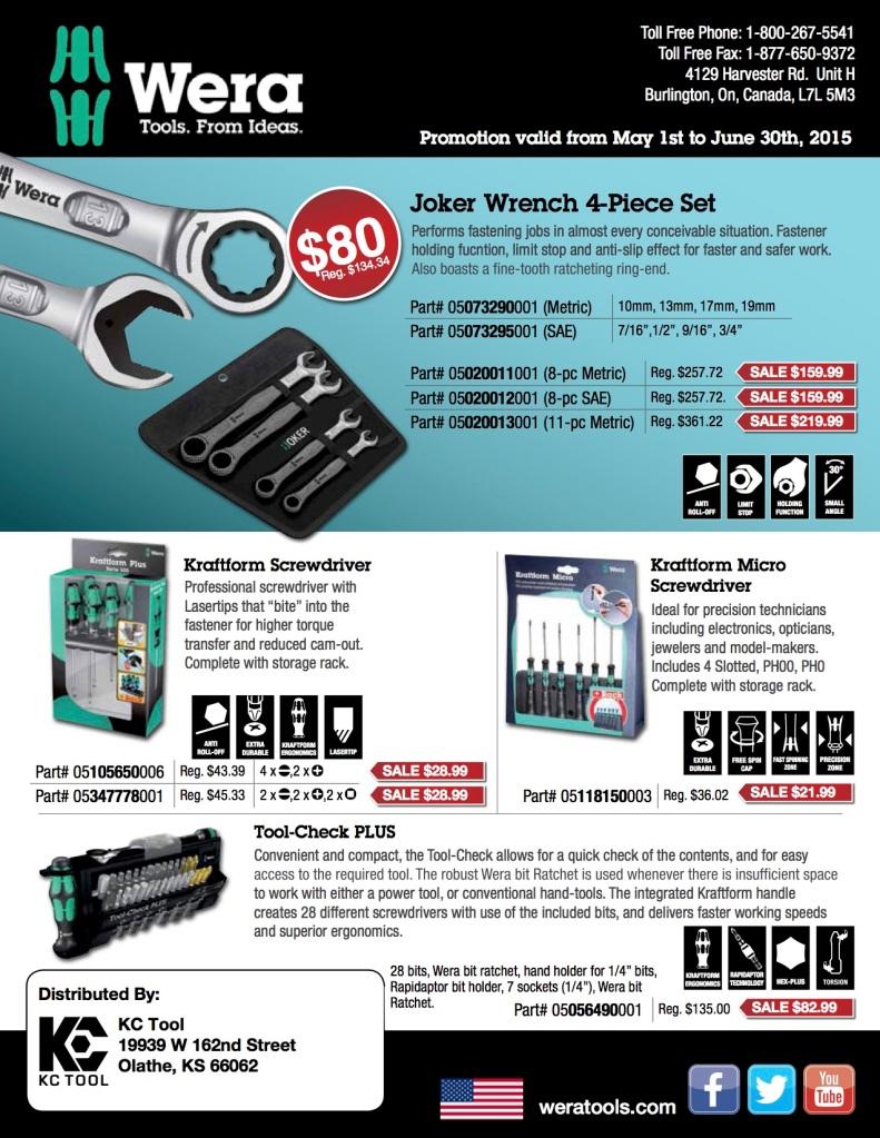 Wera 2015 Spring Promo Sale KC Tool