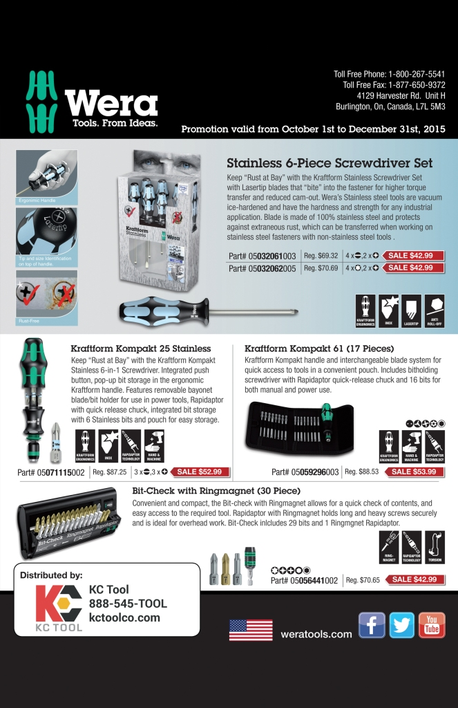 Wera Tools Fall 2015 Sale KC Tool