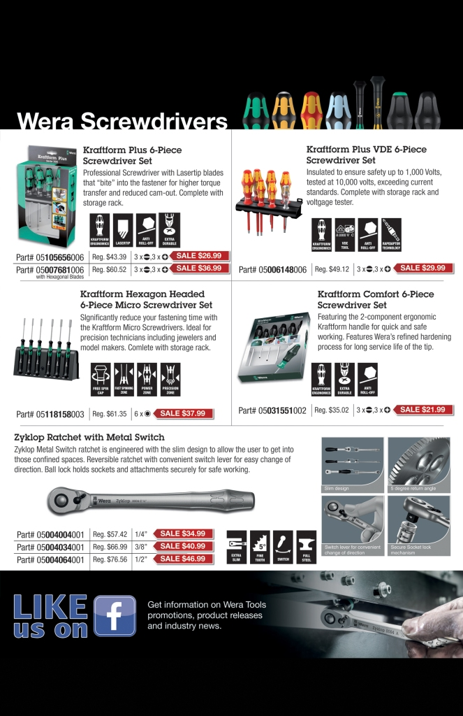 Wera Fall 2015 Sale KC Tool